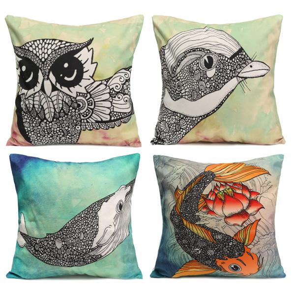 Owl bird fish cotton velvet throw pillow case back waist