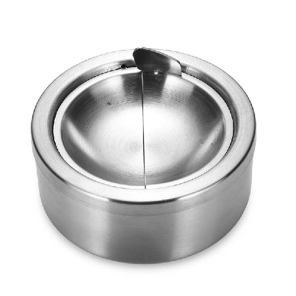 Stainless steel round ashtray lidded smoking portable car