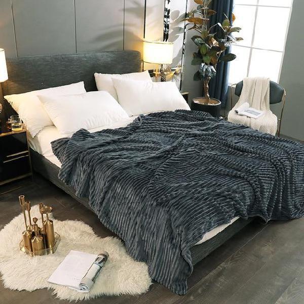 Super soft solid stripe throw winter warm flannel fleece