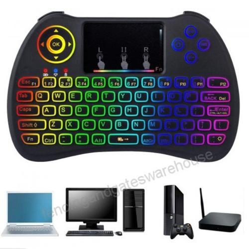 Mini wireless keyboard 2.4ghz with touchpad mouse led