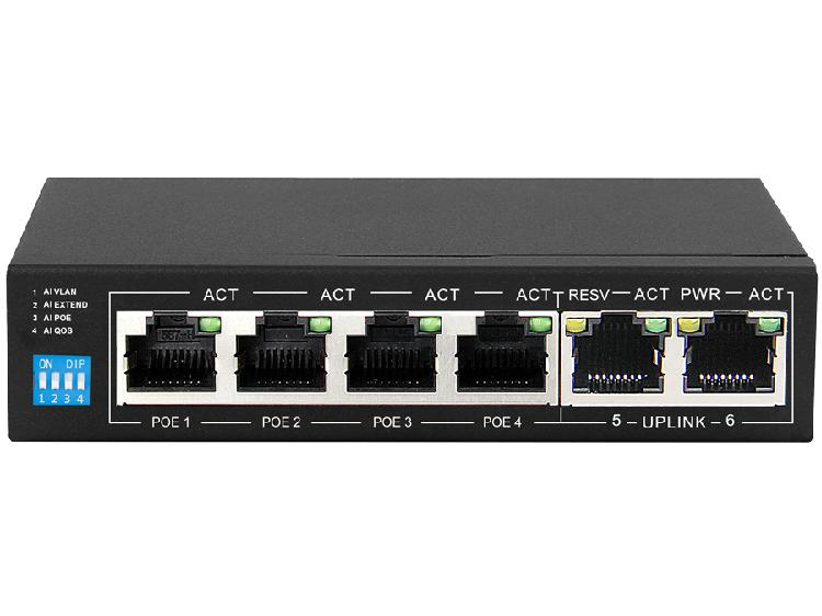 Scoop 6 port fast ethernet switch with 4 ai poe ports and 2