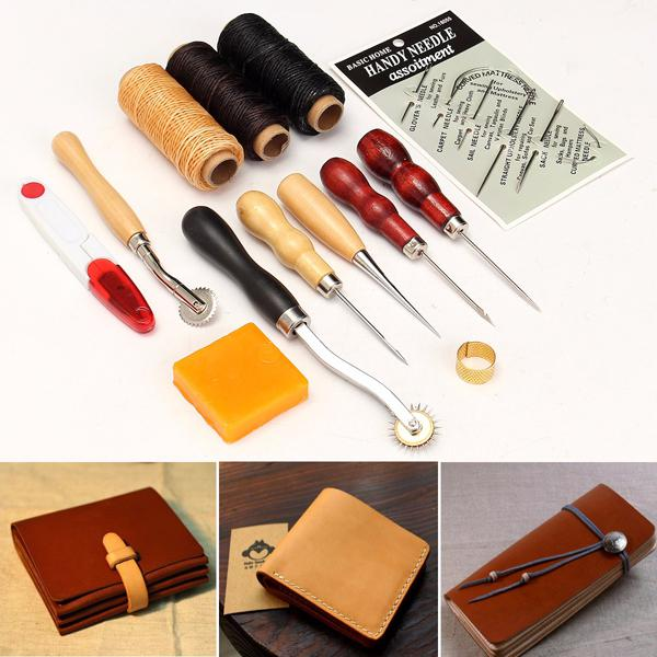 13pcs wood handle leather craft tools kit leather hand