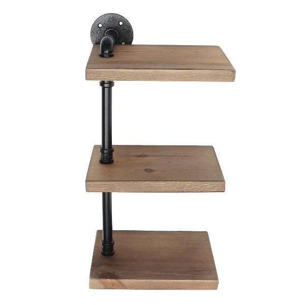 3 tiers industrial wall mount iron pipe shelf bracket retro