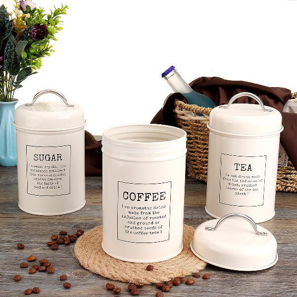 3pcs storage tanks canister tea coffee sugar tin jar
