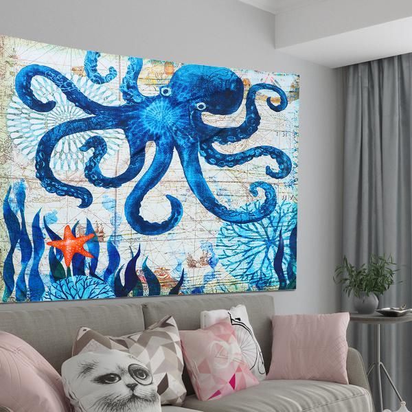 Large octopus high density tapestry wall hanging mandala