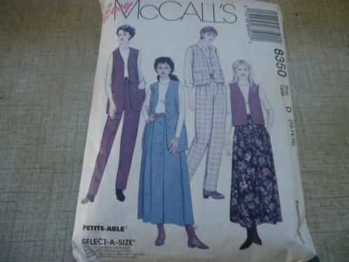 Mccall's patterns 8350 lined vest, pull on pants & shirt