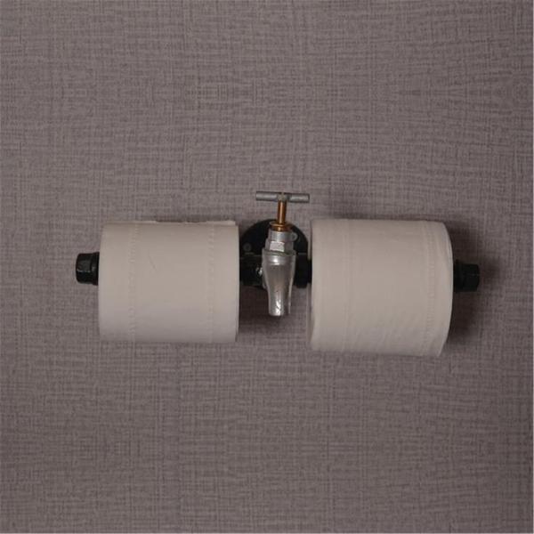 Retro industrial toilet paper roll holder pipe shelf