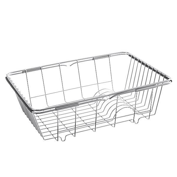 Stainless steel adjustable strainer sink drain basket rack