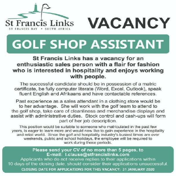 St francis links golf shop assistant