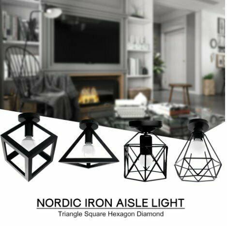 Vintage iron black ceiling light led shade industrial modern
