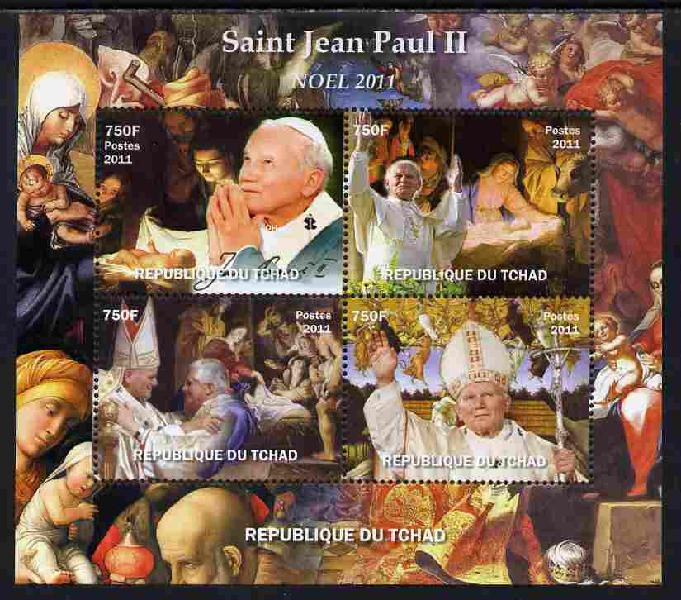 Chad 2011 St John-Paul II #1 perf sheetlet containing 4