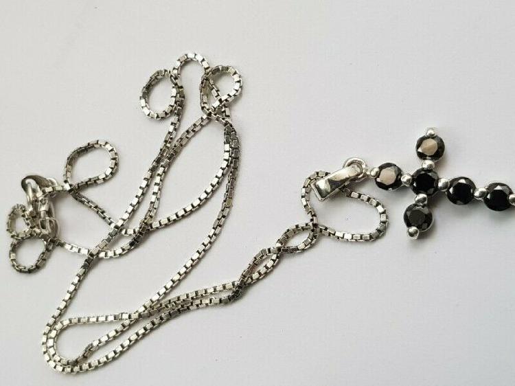 Ba273.925 silver chain and black stone cross pendant