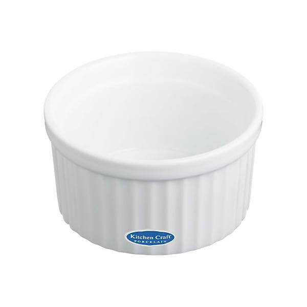 Kitchencraft white porcelain 9cm fluted ramekins, set of 6