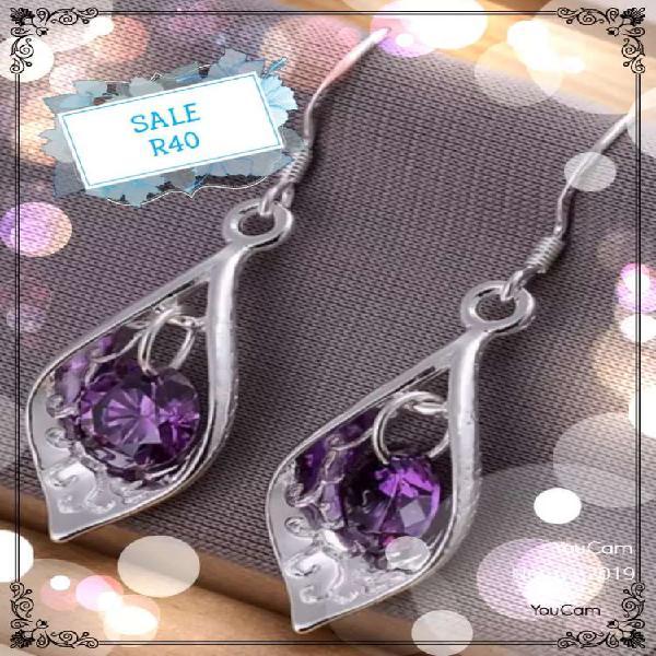 Highcubic zirconia dangle earrings, silver