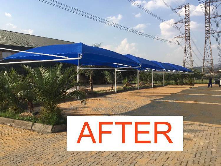 Shade netting shadeports and carports