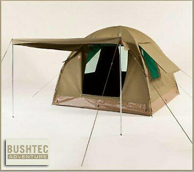 Canvas dome tent with extension and camping gear