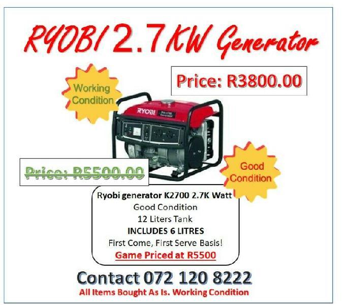 Ryobi generator k2700 2.7k watt | while stock last