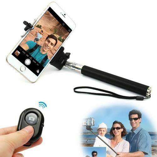 Bluetooth selfie remote shutter + extendable handheld