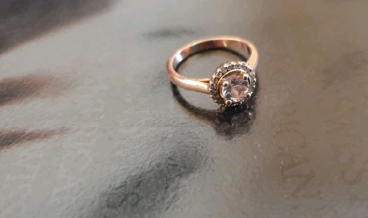 Rosegold morgonite ring