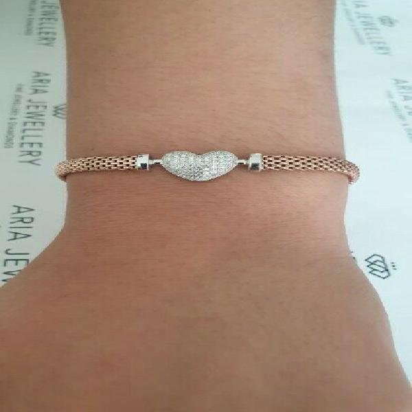 Sterling silver rose gold bracelet - r795