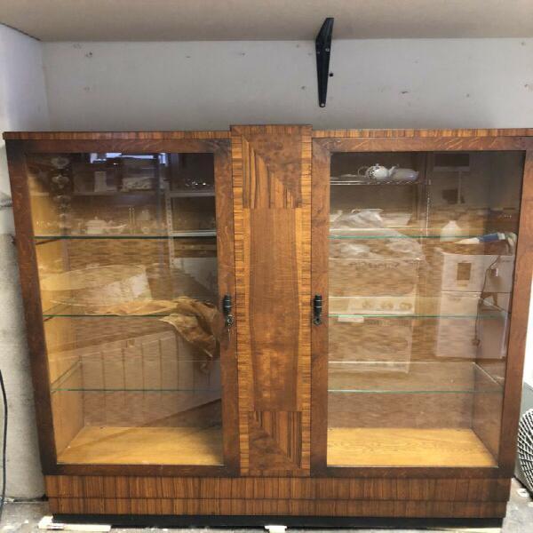 Display cabinet - art deco style 2 glass door - excellent -