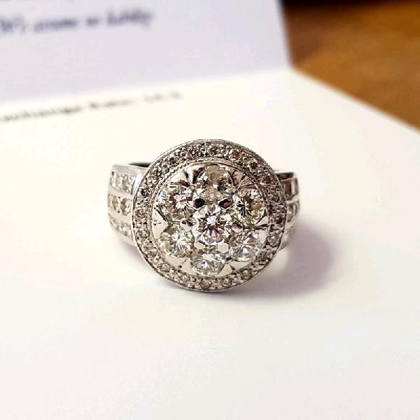 Natural DIAMOND Cluster Ring BARGAIN