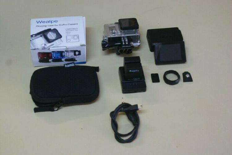 GoPro 3+ with cable, screen, waterproof case and 3 batteries