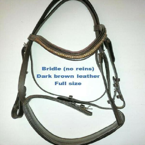 Cob size bling bridle, dark brown leather