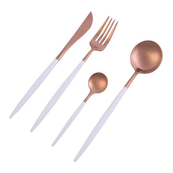 Nicolson Russell Dubai Rose Gold & White 16 Piece Cutlery