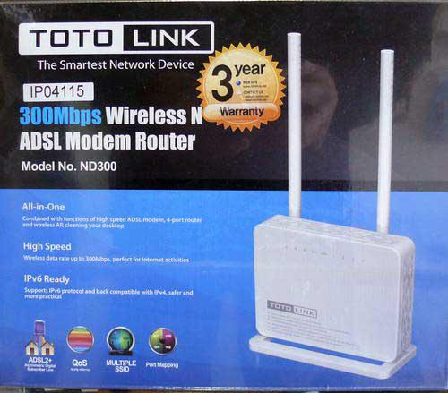 Toto link 300mbps wireless n adsl/ fibre modem router (the