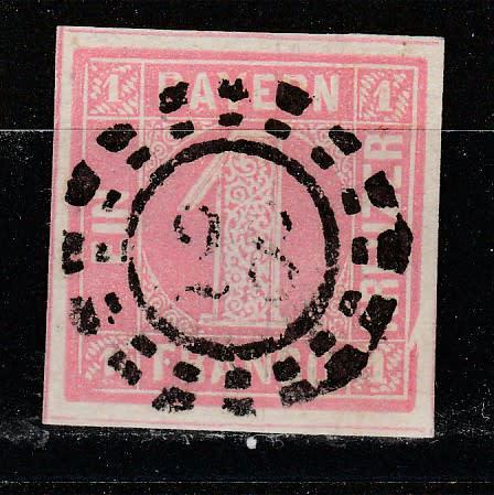Germany classic states bavaria 1850 issue mi#3 ia thin paper