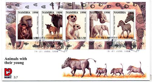 Namibia 1998 - fdc with ms - animals with their young