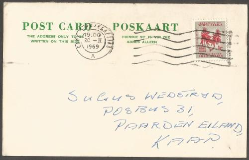 Post card generec white and green, used. postmark / cancel