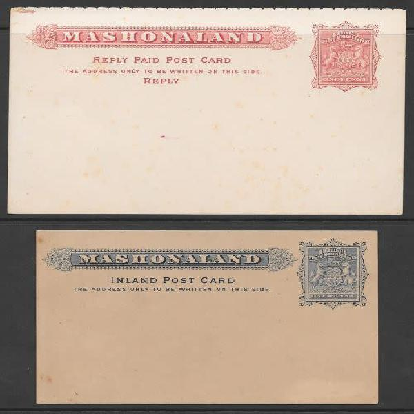 Rhodesia bsac 1890s 1d reply and 1d inland post cards unused