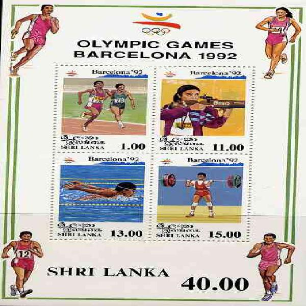 Sri lanka 1992 barcelona olympic games m/sheet unmounted