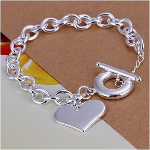 925 silver filled chain bracelet with solid flat heart and