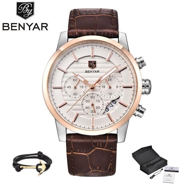 Benyar quartz watches men chronograph waterproof watches