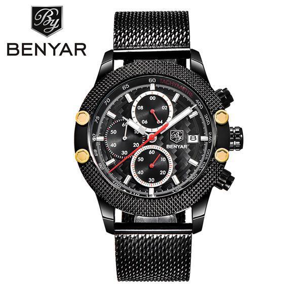 Benyar sport chronograph fashion watches men mesh & rubber