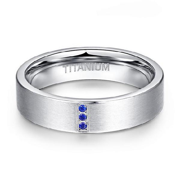 Blue zirconia crystal high polish 6mm men women titanium