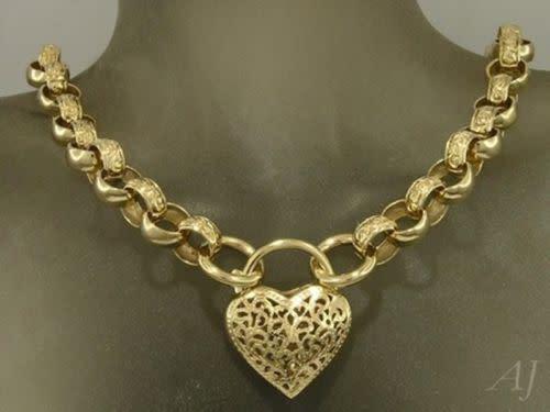 Genuine 9ct 9k yellow gold day & night belcher padlock heart