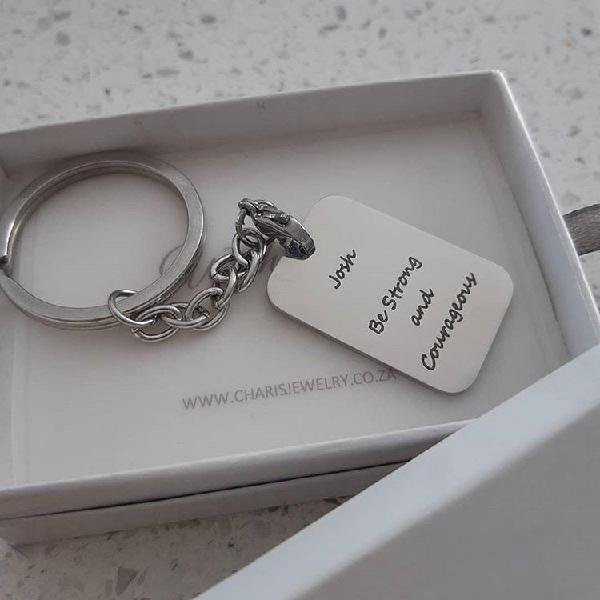 Kr22 - personalized message keyring dog tag, stainless steel
