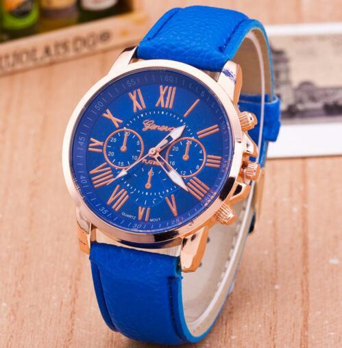 Luxury brand leather quartz watch women men ladies fashion