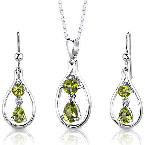 Peridot pendant earrings necklace sterling silver rhodium