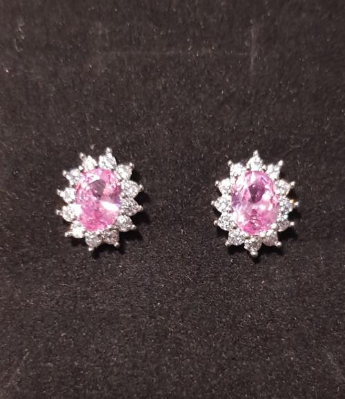 Pink princess di crystal earrings silver fashion oval