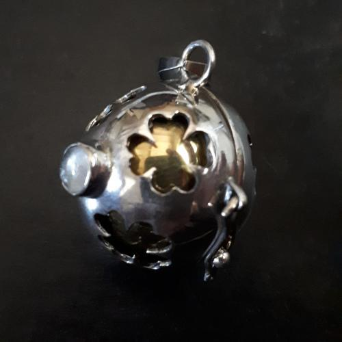 Solid serling silver harmony ball / bell pendant. two