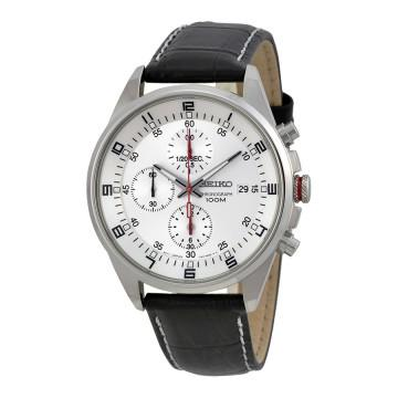 Seiko chronograph silver dial stainless steel mens watch