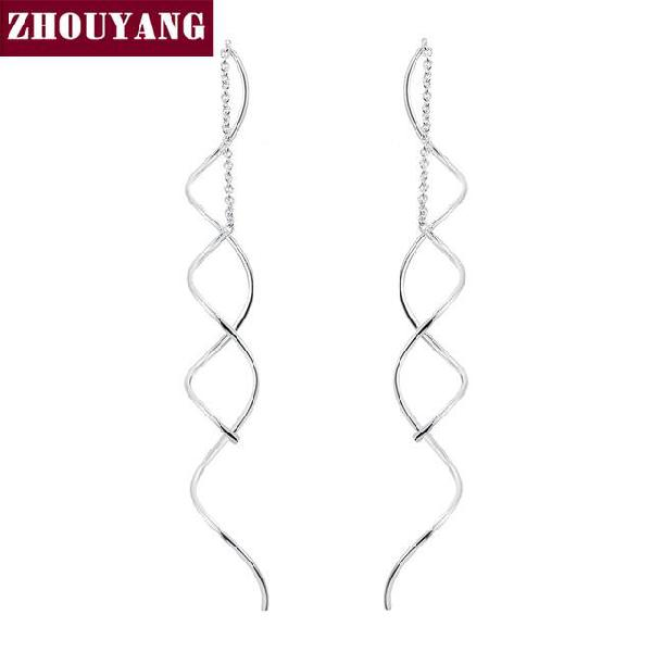 Spiral ear line rose gold color fashion earrings - white