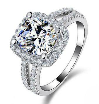 Stunning new 3ct cushion cut halo twin shank engagement
