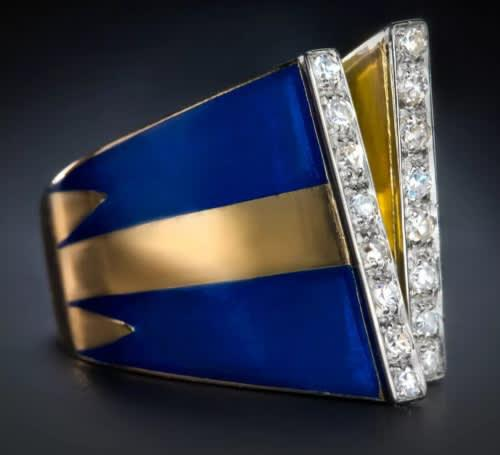 Vintage & antique collection |18k yellow gold enameled