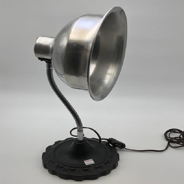 Large vintage aluminum table lamp with cast iron base